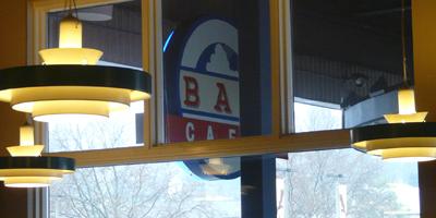 Window View of Sign   Bay Cafe at Fisherman's Terminal, Seattle WA